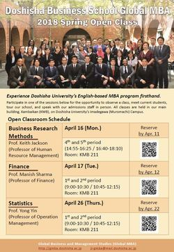 Spring 2018 Global MBA Open Class