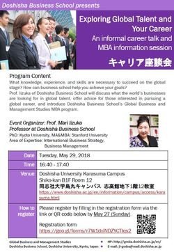 May 29: Exploring Global Talent & Your Career (Informal Career Talk and MBA Information Session)