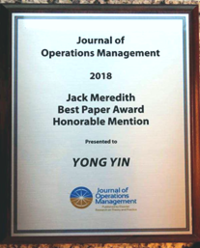 Prof. Yong Yin's Award for Jack Meredith Best Paper Honorable Mention
