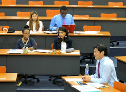 "Prof. Britt Yamamoto during student presentations for the Global Intensive Course on ""Social Entrepreneurship"" at DBS"